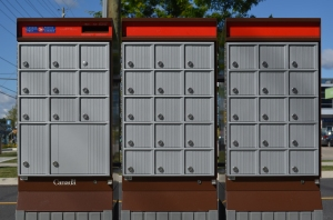 """CanadaPostCommunityMailboxes4"" by Raysonho @ Open Grid Scheduler / Grid Engine - Own work. Licensed under Creative Commons Zero, Public Domain Dedication via Wikimedia Commons - http://commons.wikimedia.org/wiki/File:CanadaPostCommunityMailboxes4.JPG#mediaviewer/File:CanadaPostCommunityMailboxes4.JPG"